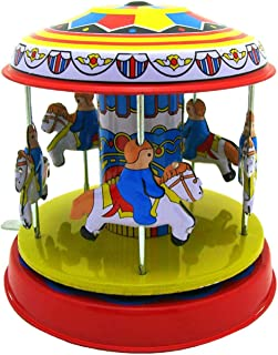 Cinhent Creative Wonderful Tinplate Nostalgic Showcase Classic Vintage Clockwork Wind Up Merry-Go-Round Children Kids Tin Toys Christmas Birthday Gift