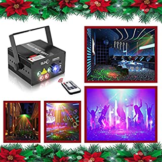 Laser Lights Led Projector,80 Patterns RG Laser DJ Stage Lighting,5 Sources Apertures Lens Red and Green Show With Blue Auto Sound Activated, Best For Disco/Wedding/Birthday/Family Party/ Clubs etc