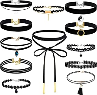 Choker Necklace for Women, Shynek 12 Pcs Black Choker Necklace Set Black Lace Tattoo Velvet Chokers for Women and Teen Girls