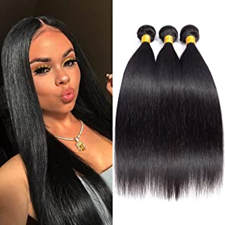 Brazilian Virgin human Hair 3 Bundles 8 10 12 inch straight hair bundles 8A 100% Unprocessed Virgin Human Hair Bundles Weave Extensions Natural Black Color Remy Hair