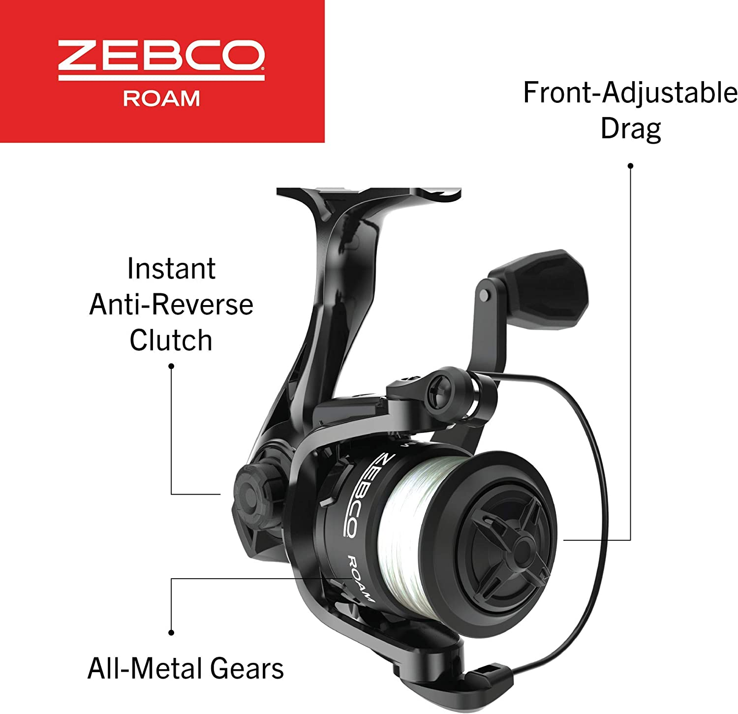 All-Metal Gears Zebco Roam Spinning or Spincast Fishing Reel Soft-Touch Handle Knob Black Pre-spooled with 10 lb Cajun Line