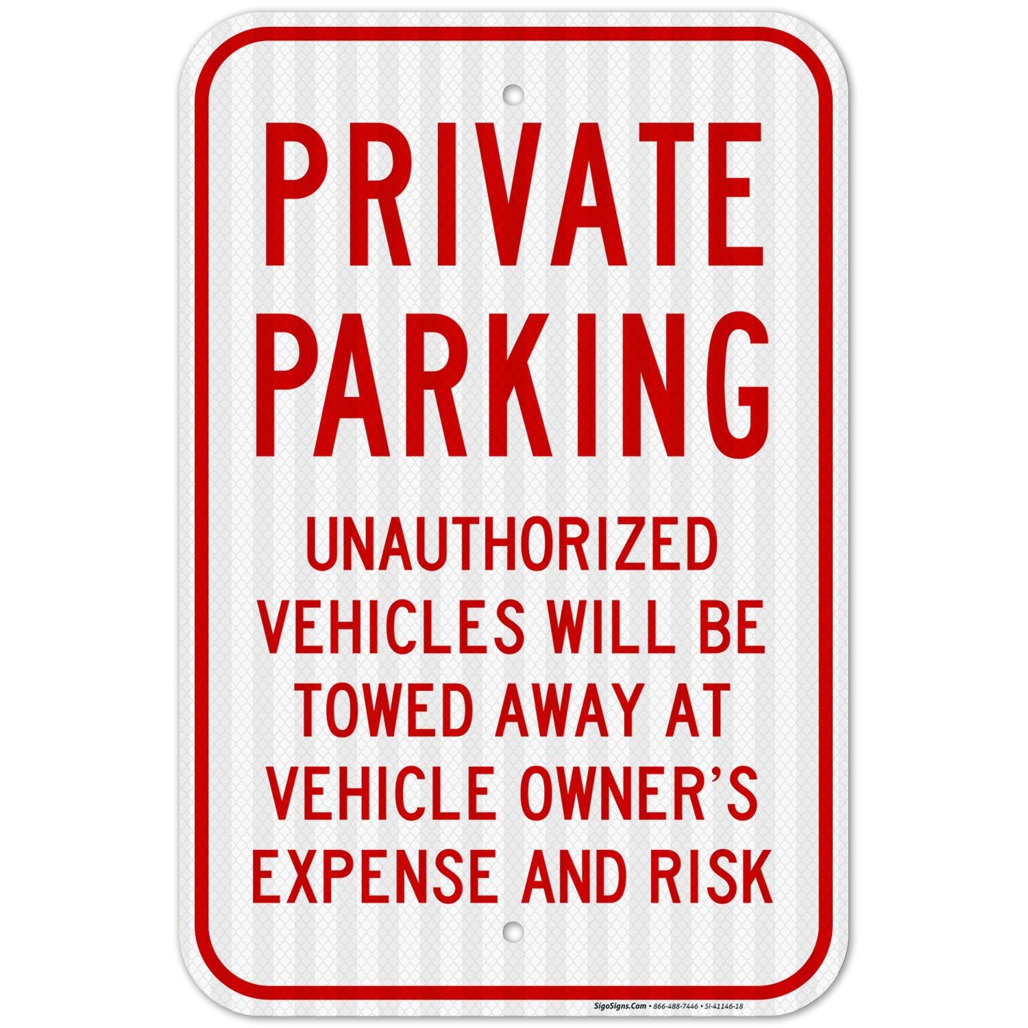 Private Ranking TOP1 Parking No Sign 12x18 Inches Under blast sales Reflective 3M EGP