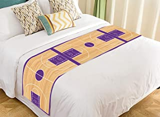 PKQWTM Basketball Court Parquet Bed Runner Bedroom Bedding Decor Bedding Scarf Size 20x95 inches