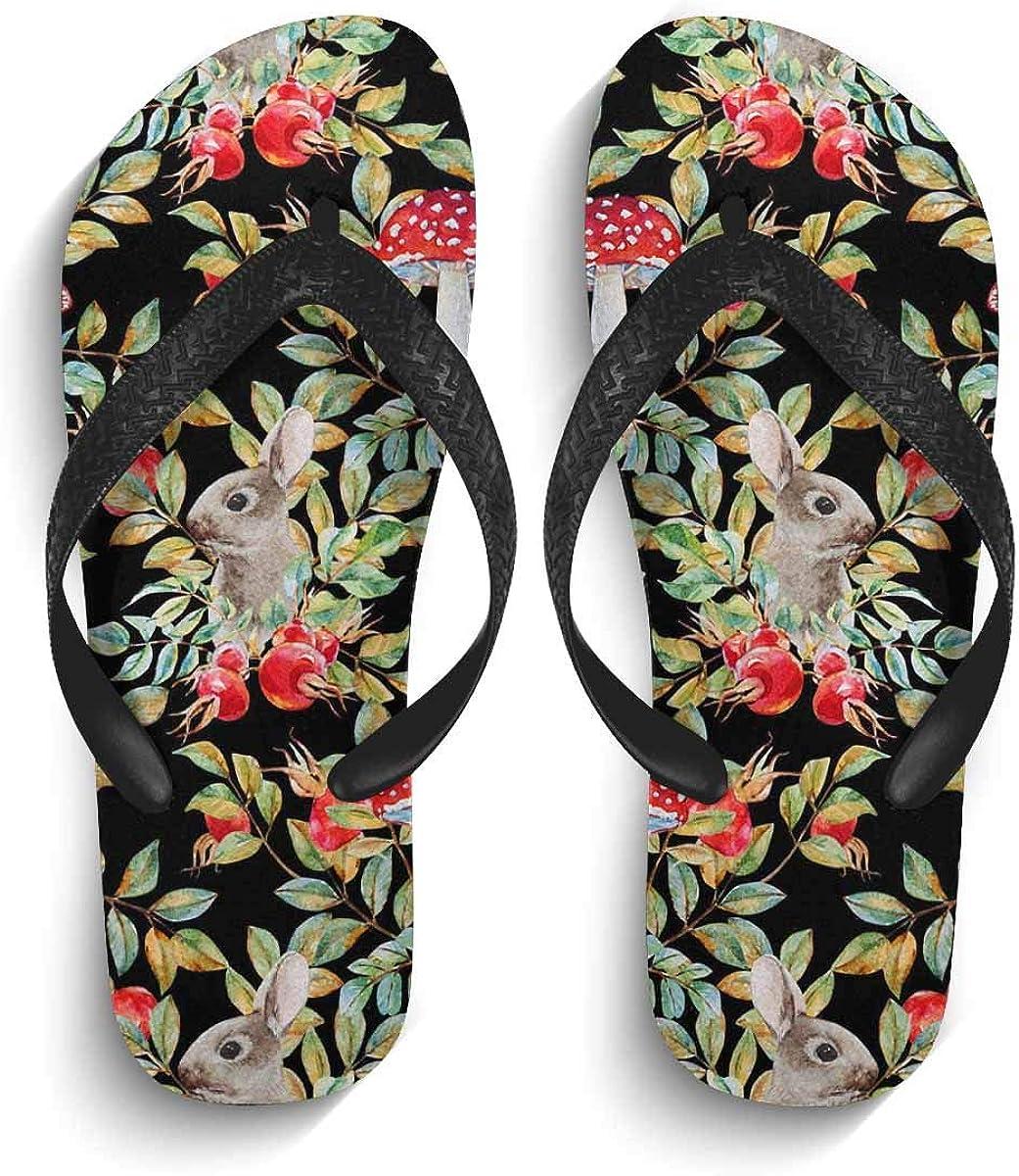 INTERESTPRINT Non-Slip Flip Flop Slippers Vintage Flowers Black Straps Slim Thong Sandal for Men