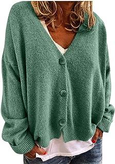 TRFPLOOC Strickjacke Damen Pullover Langarm V-Ausschnitt Strickmantel Einfarbig Knopfleiste Freizeit Herbst Winter Outerwear
