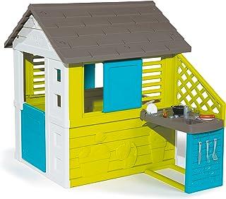 Smoby – Pretty Haus - Spielhaus für Kinder für drinnen und draußen, mit Küche und Küchenspielzeug 17 teilig, Gartenhaus für Jungen und Mädchen ab 2 Jahren