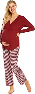 Maternity Nursing Pajama Set Striped Pants Short/Long...