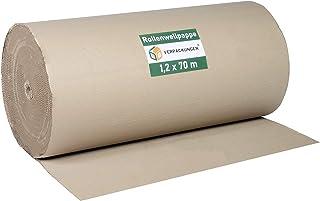 BB-Verpackungen Wellpappe Rollenwellpappe | 1,2 x 70 m 84m² |Wellkarton Rolle als Füllmaterial | Rollwellpappe 100% Papier recycelbar | ideal für Versand, Umzug & Abdeckung