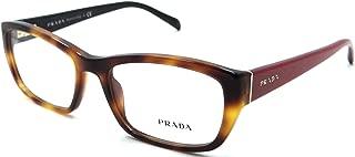 Prada Rx Eyeglasses Frames Vpr 18o Tkr-1o1 52x18 Havana / Red Made In Italy