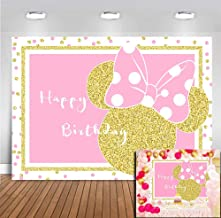 MMY 7x5ft Cartoon Pink Mouse Backdrop Kids Happy Birthday Photography Background Gold Princess Girls Decoration Background Photo Studio Celebration Party Banner Prop Photoshoot Photo Booth Vinyl