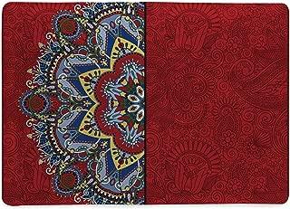 Red Mandala Classic Notebook,Ukranian Ethnic Design Half Mandala with Swirls and Flowers Image Decorative Opening Ceremony