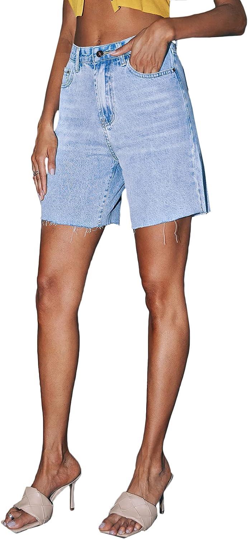 Floerns Women's Casual Raw Hem Light Washed Mid Rise Denim Shorts