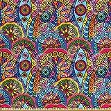 ABAKUHAUS Blumen Gewebe als Meterware, Hippie Aztec Tribal