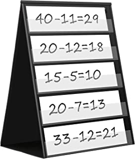 Maigicfly Double Sided Tabletop Pocket Chart, Self-Standing Desktop Pocket Chart with 20 Dry Erase Cards for Small Group Usage in Classroom and Office