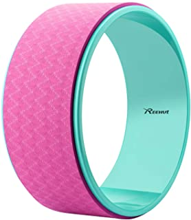 "Reehut Strong Premium 12.6"" x 5"" Yoga Wheel Roller Designed for Dharma Yoga Wheel Pose, for Stretching and Improving Backbends - Includes Pose Guide Card"
