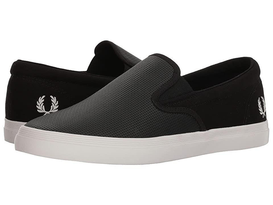 Fred Perry Underspin Slip-On Checkerboard Leather/Canvas (Black/Snow White) Men