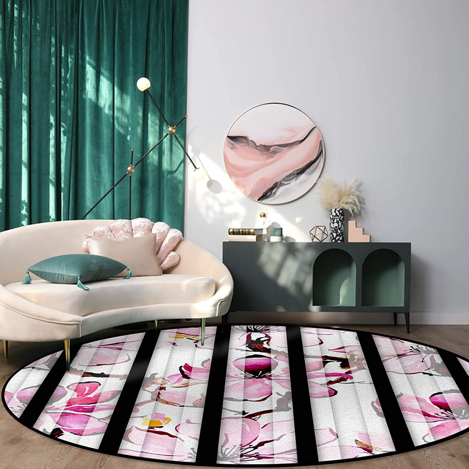 Round Limited price Rug for Dining Room Blooming Watercolor Floral Fil Bedroom 2021 model