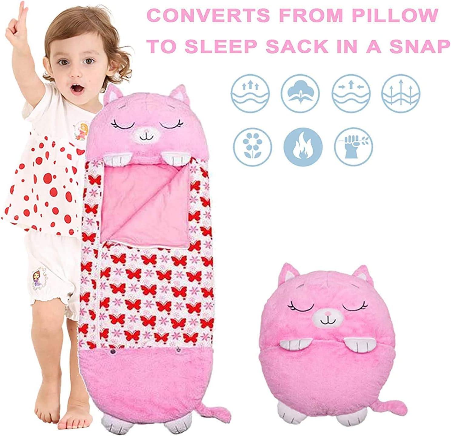 Medium 3-6yrs White Unicorn Comfy Fun One-piece Childrens Pajamas Sleeping Bags Kids Play Pillow and Sleeping Bag 2 IN 1 Cartoon Animal Sleeping Bag for Boys Girls Gift Fun Sleeping Bag For Kids