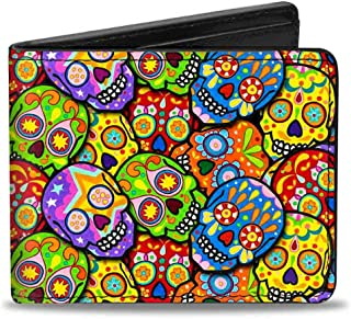 Buckle Down mens Buckle-down Pu Bifold Wallet - Colorful Calaveras Stacked Multi Color Bi-Fold Wallet One Size