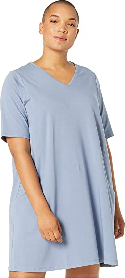 Plus Size Organic Cotton Stretch Jersey V-Neck 3/4 Sleeve A-Line Dress