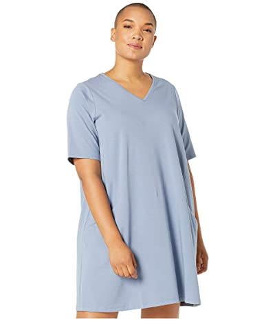 Eileen Fisher Plus Size Organic Cotton Stretch Jersey V-Neck 3/4 Sleeve A-Line Dress (Chambray) Women