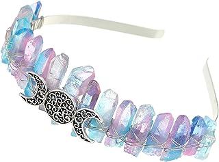 Aura Headband Raw Crystal Crown - Rhinestone Tiara Mermaid Hair Accessories for Women Party Wedding(Colorful)