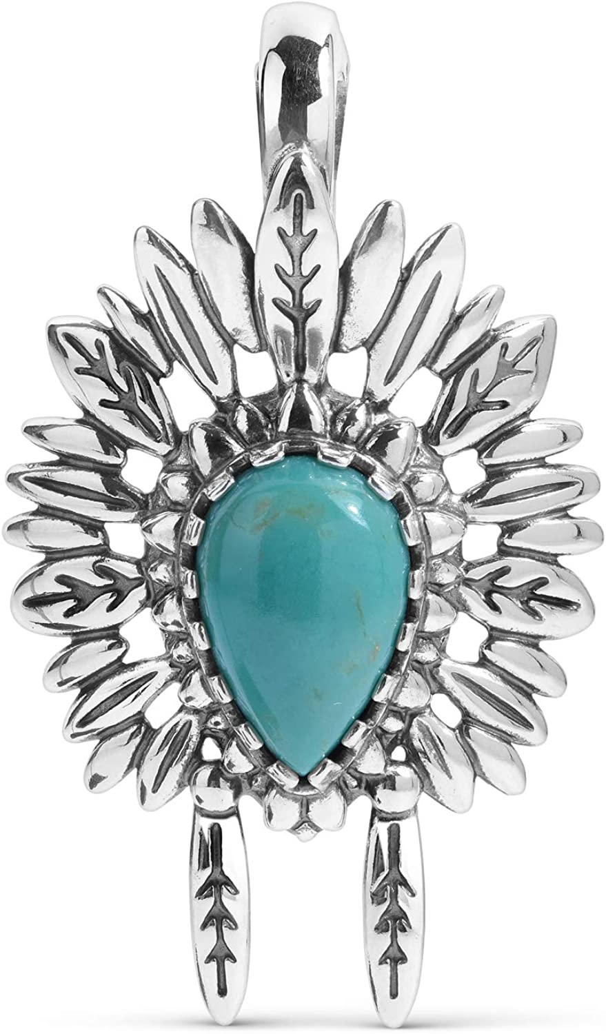 American West Fashion Sterling Silver Green Pe Turquoise Headdress Chief Limited Special Price