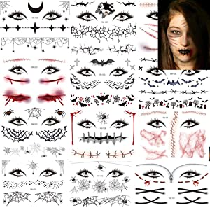 Halloween Temporary Tattoos Day of the Dead Face Tattoos Spider Eye Web Tattoos Sticker 12 Sheets Day of the Dead Makeup Decals for Halloween Party Decorations