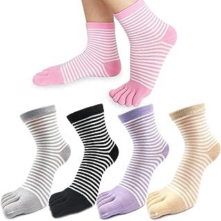 mescolare REKYO 5 Coppie Donne Toe Socks Calzini Cinque Dito Morbido E Traspirante Low Cut Ankle Socks Calze Di Seta Per Le Donne Ragazze