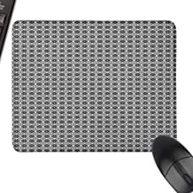 Mouse Mat Grey Simple Repetitive Floral Motifs with Diamond Shapes in Retro Style with Stitched Edge,15.7
