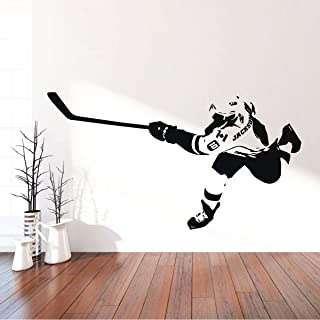 Hockey Wall Decor - Personalized Player Shooting Puck - Vinyl Sticker For Teen, Boy's Bedroom or Playroom - Sports Decorations