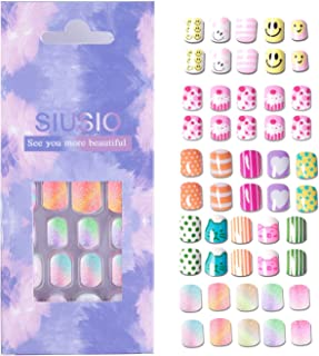 112pcs 5 Pack Children Nails Press on Pre-glue Full Cover Glitter Gradient Color Rainbow Short False Nail Kits Great Christmas Gift for Kids Little Girls