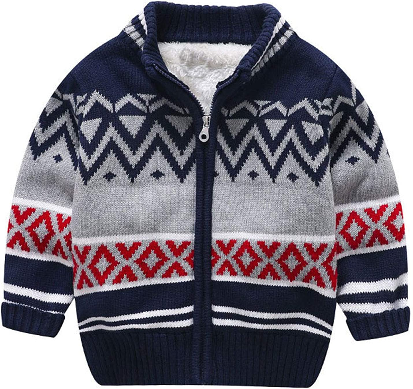 AMEBELLE Boy's Girl's Toddler Winter Chevron Sherpa Lined Knit Cardigan Sweater