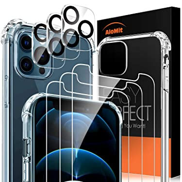 AloMit Tempered Glass for iPhone 12 Pro Max Screen Protector [3Pack]+Camera Lens Protector[3Pack]+Clear Case[1Pack] [9H Hardness] [Easy Installation Frame] [Case-Friendly],6.7-Inch
