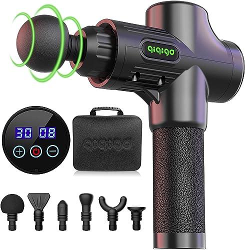 QIQIGO Massage Gun Deep Tissue,30 Speed Level Cordless Portable Handheld Electric Percussion Muscle Massager Gun with...