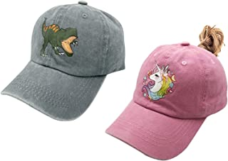 Waldeal 2 Pack Kids Baseball Hat Cute Dinosaur Unicorn Decal Adjustable Cap for Boys and Girls