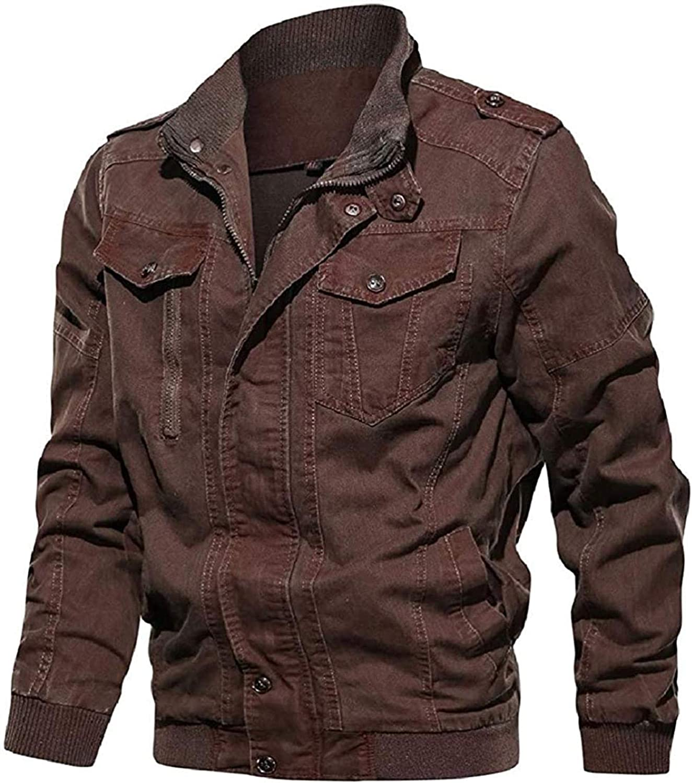 Mens Pockets Zipper Windbreaker Winter Outwear Jackets Military Year-end Oakland Mall gift