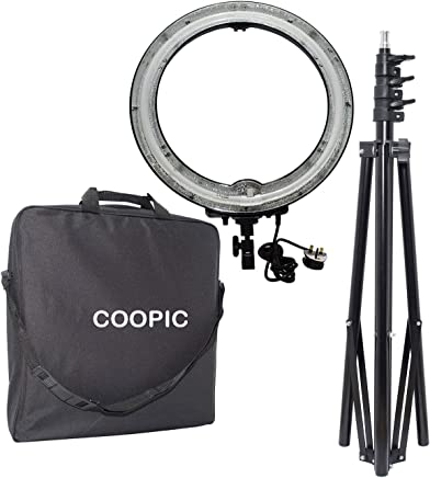 COOPIC FA-75C 5500K Ring Digital Photographic Studio Light with Light Stand (19 inches or 48 centimeters Outer, 75W Cathode Tube) Black Body