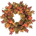 "Home Accents Holiday 30"" Unlit Artificial Harvest Maple Leaves Wreath"