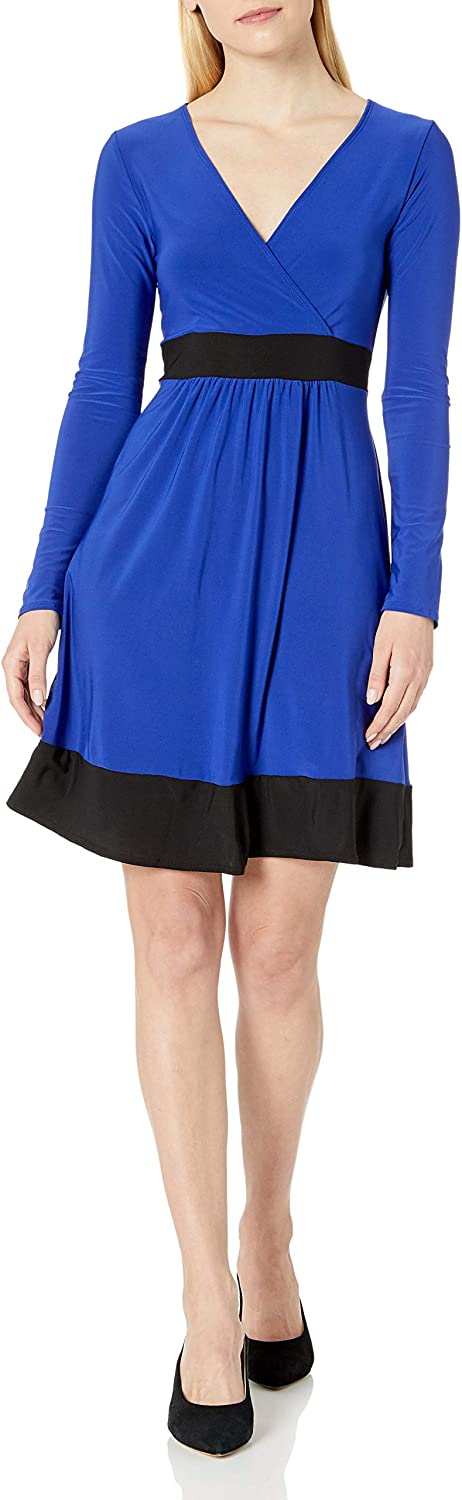 Star Vixen Women's Plus Size Long Sleeve Ity Knit Surplice Bodice Solid Short Skater Dress with Black Inset Waistband