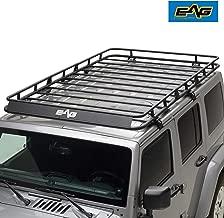 EAG 2 4 Door Roof Rack Cargo Basket with Wind Deflector Fit for 07-18 Jeep Wrangler JK