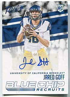 Jared Goff AUTO 2016 Prestige Blue Chip Recruits Rams Rookie RC #d 08/100 Football Autographed Rookie Card Cal Berkeley Bears