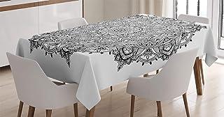ABAKUHAUS Mandala Nappe, Mandala Art Noir Blanc, Linge de Table Rectangulaire pour Salle à Manger Décor de Cuisine, 140 cm...