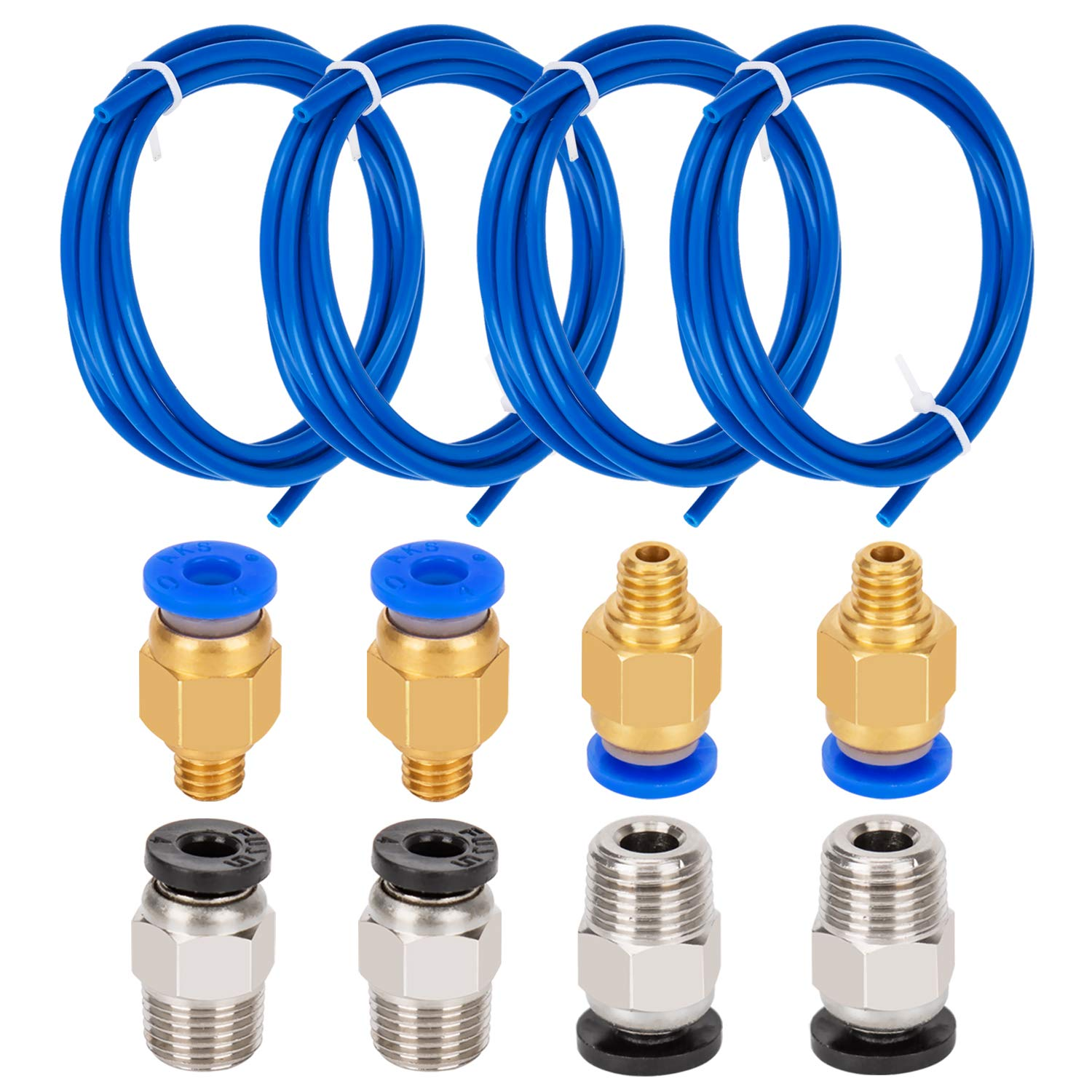 with 8 Pieces PC4-M6 Fittings and 8 Pieces PC4-M10 Male Straight Pneumatic PTFE Tube Push Fitting Connector for 3D Printer 1.75mm Filament 1 Meter SIQUK 4 Pieces Teflon Tube PTFE Tubing