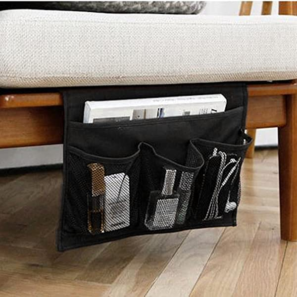 HAKACC Bedside Caddy Bedside Storage Organizer Under Couch Table Mattress Book Remote Glasses Caddy Black