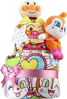 出産祝い アンパンマン ぬいぐるみ2体とタオル2枚の超豪華 2段 おむつケーキ パンパースS おもちゃ 女の子向け ドキンちゃん