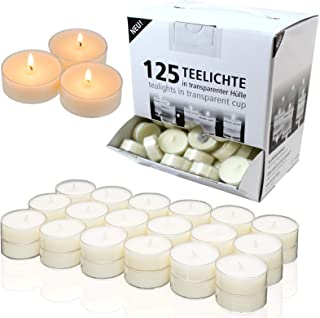 Candelo Lot de 125 bougies chauffe-plat d'ambiance non parfumées – 1,8 x 3,5 cm par bougie chauffe-plat – Bougies chauffe-...