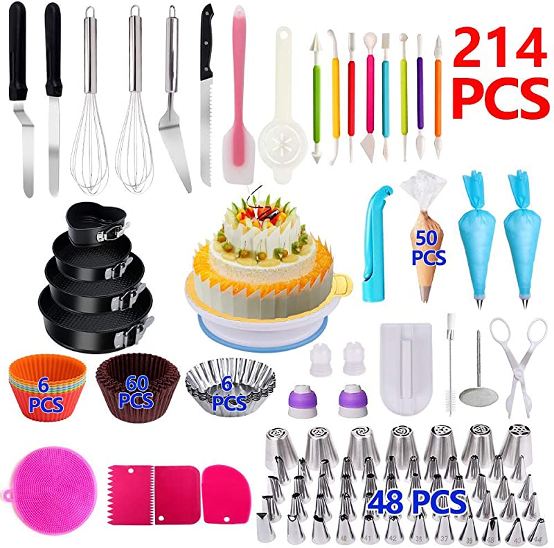 Cake Decorating Supplies 214 PCS Complete Baking Set With 4 Packs Springform Pan Sets 136 PCS Decorating Kits And 6 Muffin Cup Molds Perfect Cake Baking Supplies For Beginners And Cake Lovers