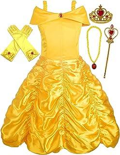 Disfraz de Princesa Belle Vestido y Accesorios, Guantes, Tiara, Varita y Collar