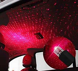 Romantic Auto Roof Star Projector Lights,Usting 2019 Flexible USB Night Lamp Fit All Cars SUV Truck Ceiling Decoration Light Interior Ambient Atmosphere - Plug and Play (Black)